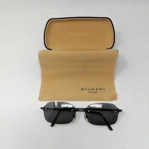 Bulgari Rimless Frame Less Oval Black Sunglasses